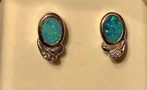 Sterling Silver (.925) Opal on Ironstone Earrings