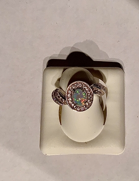 Sterling Silver Opal Ring with CZ accents