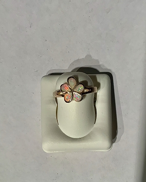 Sterling Silver Opal Flower Ring