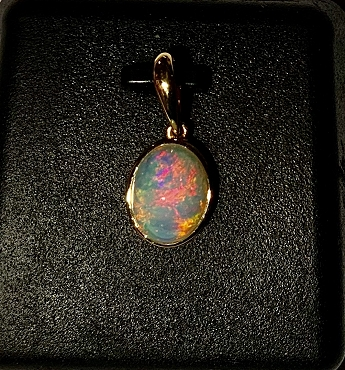 14K Yellow Gold Solid Opal Pendant - Open Back