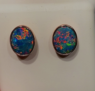 14K Opal Earrings  10x8mm