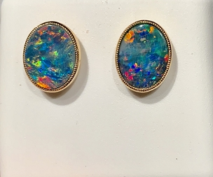 14K Opal Earrings  9x7mm