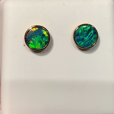 14K Opal Earrings  6mm