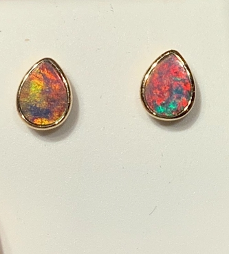 14K Opal Earrings  7x5mm