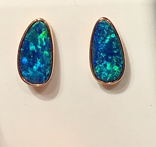 14K Opal Earrings  Free Form 1.75 carats
