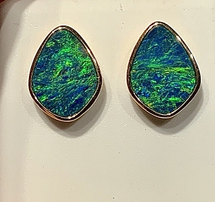 14K Opal Earrings  Free Form 3.71 carats