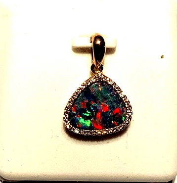 14k Yellow Gold Andamooka Opal Pendant  with Diamond accents.