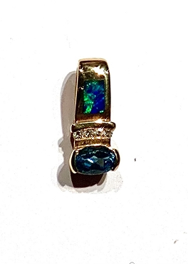 14k Opal Inlay Pendant  with Blue Topaz