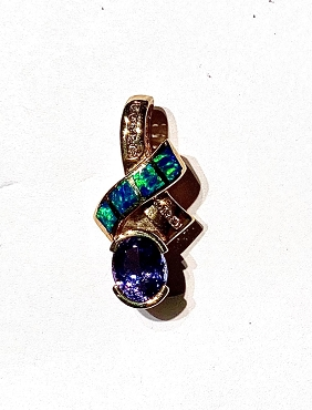 14k Opal Inlay Pendant  with Tanzanite