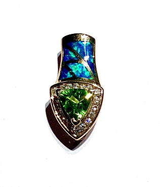14k Opal Inlay Pendant  with Peridot