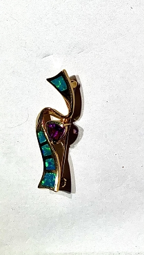14k Opal Inlay Pin/Pendant  with Amethyst