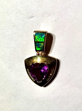 14k Opal Inlay Pendant  with Amethyst