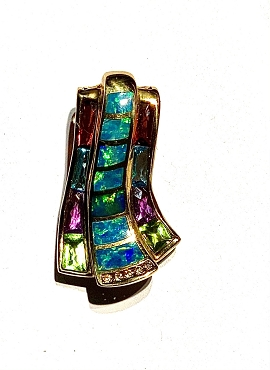 14k Opal Inlay Pendant  with Multi Gemstones