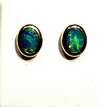 14k Opal Earrings - 7x5mm