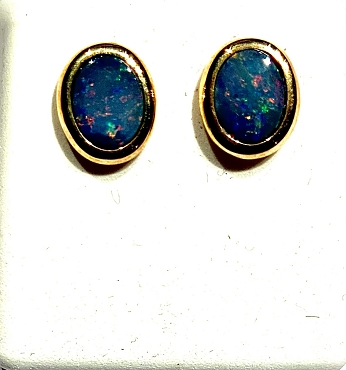 14k Opal Earrings - 8x6mm