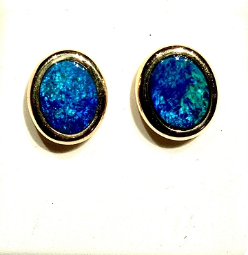 14k Opal Earrings - 9x7mm