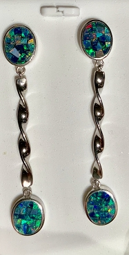 Sterling Silver (.925) Opal Mosaic Earrings