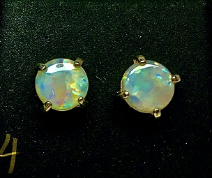 Solid Opal Sterling Silver (.925) Stud Earrings