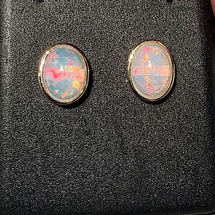 14k Yellow Gold Solid Opal Earrings